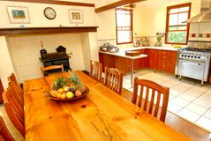 Old colonial style kitchen. Designed for a large family Royalty Free Stock Photo