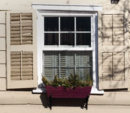 Old Colonial Window. In the Stockade section of historic Schenectady, New York Royalty Free Stock Photo