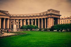 Old colonnade of Kazan cathedral in St Petersburg Stock Image