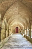 Old colonnaded closter in the Abbaye de Fontenay Royalty Free Stock Photo