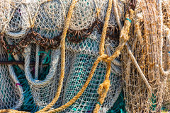 Old color fishing nets and ropes Stock Photo