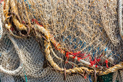 Old color fishing nets and ropes Royalty Free Stock Photo