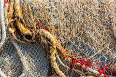 Old color fishing nets and ropes Royalty Free Stock Photography