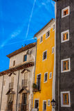 Old color houses facades in Cuenca, central Spain Stock Images