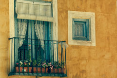 Old color houses facades in Cuenca, central Spain Stock Image