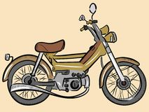 Old color moped. Outdated model of a moped painted in a color retro Royalty Free Stock Images