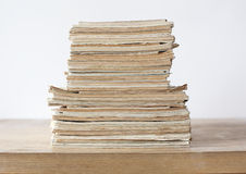 Old color paper documents on the wooden table. Stack of the old color paper documents on the wooden table vector illustration
