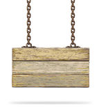 Old color wooden board with rusty chain. Royalty Free Stock Images