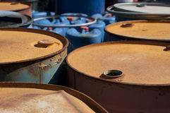 Old colored barrels for oil products Stock Photography
