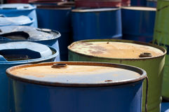 Old colored barrels for oil products Royalty Free Stock Image