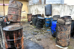 Old colored barrels Stock Photography