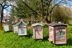 Old colored beehives in Poland Royalty Free Stock Photo