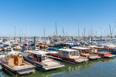 Arcachon, France, the marina. Old colored boats in the marina of Arcachon Royalty Free Stock Photography