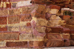 The old colored brick wall. Stock Photos