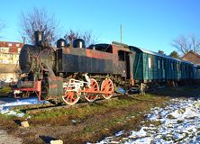 Old colored train at winther Royalty Free Stock Photo