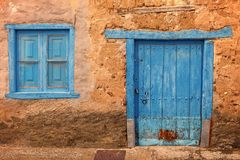 Old colored windows and doors, from typical village of Spain. Old colored windows and doors, from a typical village of Leon province, Spain stock image