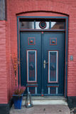 Old Colorful Blue Door in Ribe, Denmark. Oldest town in Europe Royalty Free Stock Photos