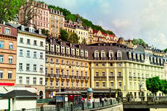 Old colorful buildings in Karlovy Vary, Czech Republic Stock Photo