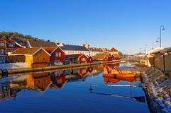 Old colorful buildings reflecting in the water Royalty Free Stock Photos