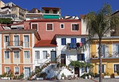 Old colorful buildings street Parga Greece Stock Photo
