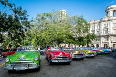 Old and colorful cars at Havana royalty free stock photo