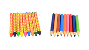 Old colorful crayons and wooden pencils Royalty Free Stock Image