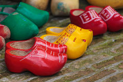 Old colorful Dutch wooden clogs royalty free stock photography