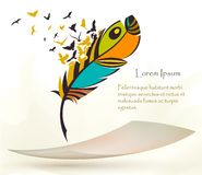 Old colorful feather with flying paper royalty free illustration