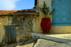 Old colorful houses. In Crete island Stock Photos