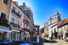 Old Colorful Houses And Streets Of Lisbon Stock Photos