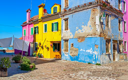 Old colorful houses of Burano. Stock Images