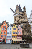 Old colorful houses in the city Cologne in Germany Stock Images