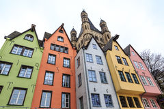 Old colorful houses in the city Cologne in Germany Stock Photo