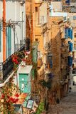 Old colorful houses of Valletta royalty free stock photos