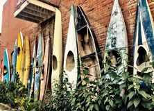 Old Colorful Kayaks Propped against a Brick Wall with Fauna. Old and out of service kayaks provide decoration for the side of a brick wall building. Large leaves stock photos