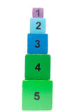 Old colorful and numbered stacking boxes toy Stock Image