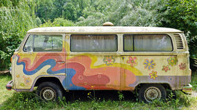 Old colorful painted camper Royalty Free Stock Photography