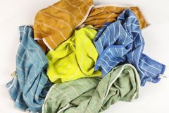 Old colorful rags on white background. Top view Royalty Free Stock Image