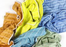 Old colorful rags on white background. Top view Royalty Free Stock Photo