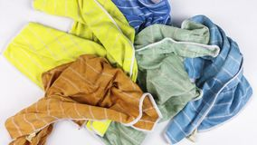 Old colorful rags on white background. Top view Stock Photography