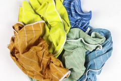 Old colorful rags on white background. Top view Royalty Free Stock Photos