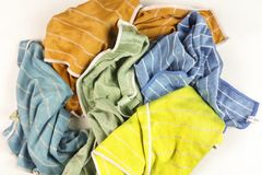 Old colorful rags on white background. Top view Stock Photo