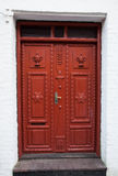 Old Colorful Red Door in Ribe, Denmark. Oldest town in Europe Royalty Free Stock Photography