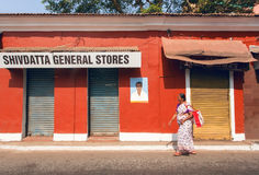 Old colorful street with closed shopes in historical indian town Royalty Free Stock Image