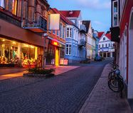 Old colorful street in twilight, Sonderborg, Southern Denmark.  royalty free stock photo