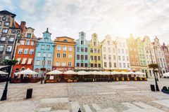 Old colorful tenement buildings located in Gdansk royalty free stock image