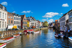 Old colorful traditional houses along canal in Ghent, Belgium Royalty Free Stock Images