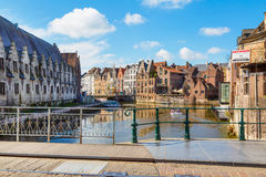 Old colorful traditional houses along canal in Ghent, Belgium Royalty Free Stock Photo