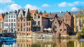 Old colorful traditional houses along canal in Ghent, Belgium Royalty Free Stock Photos