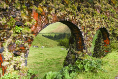 Old colorful viaduct in Sao Miguel island Azores Royalty Free Stock Images